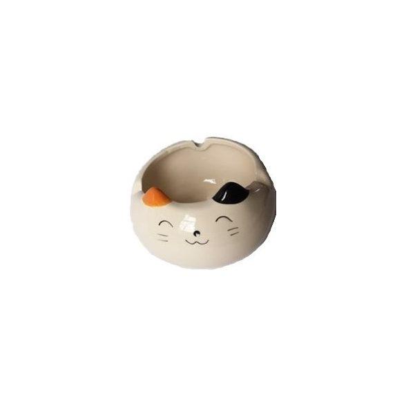 Hamutál kerámia cica narancs-fekete füllel