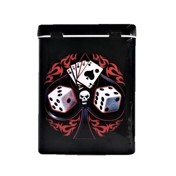 Cigarettatartó fém póker koponyás