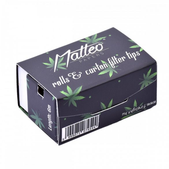 Cigarettapapír Matteo Rolls+tip 6 méteres fekete